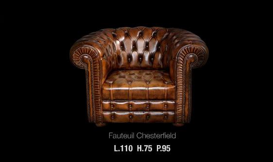 Fauteuil Chesterfield en cuir de vachette coloris marron patiné