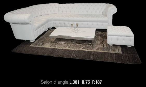 canap d angle chesterfield en cuir de vachette rancho. Black Bedroom Furniture Sets. Home Design Ideas