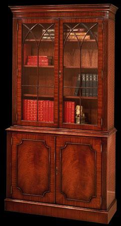 Bibliothèque de style Anglais en ronce d'acajou à cannelure