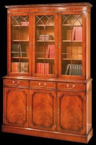 Bibliothèque Anglaise 3 portes 4 tiroirs en ronce d'acajou