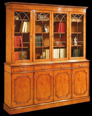 Bibliothèque de style Anglais en bois de merisier 4 portes 4 tiroirs