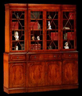 Bibliothèque 4 portes 3 tiroirs corps avancé ou 2 tiroirs secrétaire en ronce d'acajou