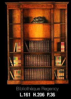 Bibliothèque Anglaise Regency ouverte corps avancé en bois de merisier