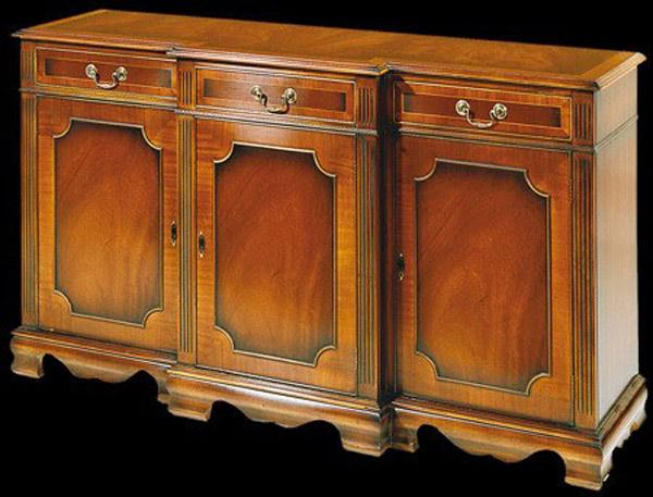 Buffet Anglais 3 portes 3 tiroirs en meriiser à cannelure corps avancé