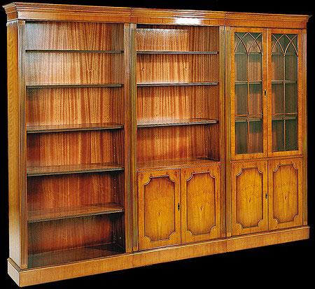 Eléments de bibliothèque de style Anglais en bois de merisier