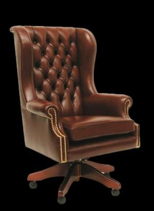 Fauteuil de bureau Anglais Roll en cuir de vachette marron patiné