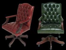 fauteuil-de-bureau-anglais-gainsborough-cuir-vert-etbordeaux-patine