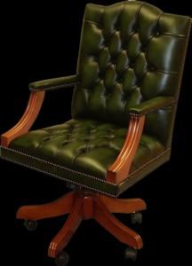 fauteuil de bureau Anglais Gainsborough eb cuir de vachette vert patiné