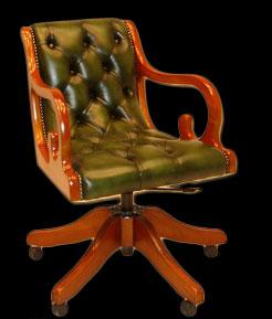 Fauteuil de bureau Anglais Regency en cuir de vachette coloris vert bronze patiné