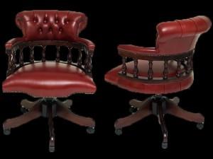 fauteuil de bureau Anglais Captains en cuir de vachette bordeaux patiné assise non capitonné