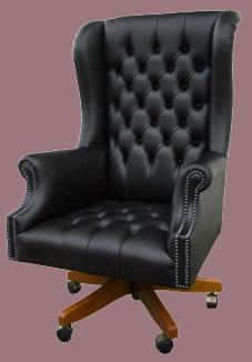 Fauteuil de bureau Anglais Roll tout capitonné  en cuir de vachette coloris noir