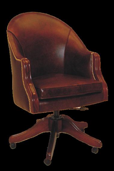 Fauteuil de bureau Anglais Surrey en cuir de vachette old Brown assise coussin