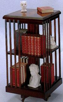 bibliothéque tournante en bois d'acajou