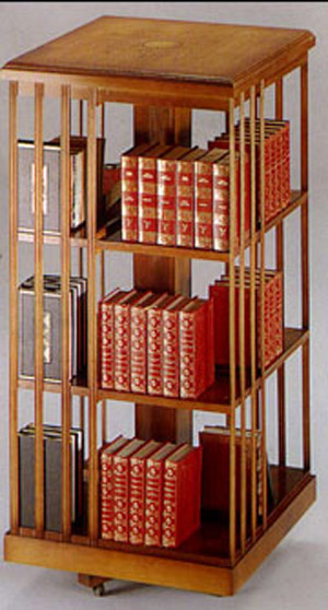 Bibliothèque tournante grand modèle en bois de merisier