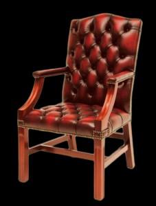 Fauteuil de bureau Anglais Belmont Chair en cuir de vachette coloris bordeaux patiné
