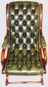 Retour de foire fauteuil Anglais Victoria en cuir de vachette coloris vert patiné