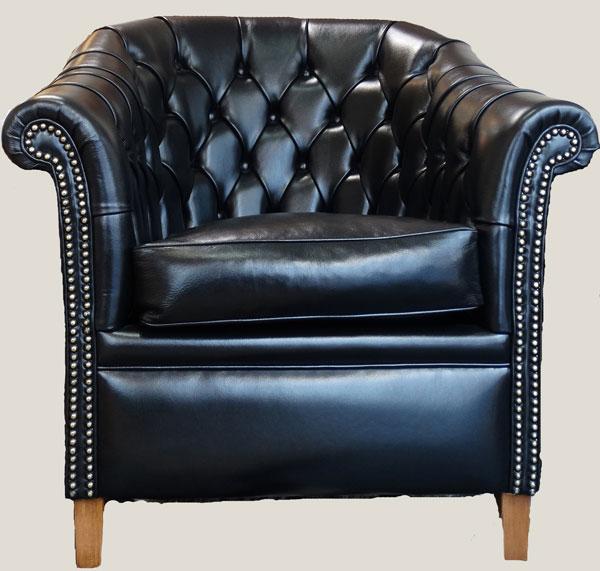 Fauteuil Baby Chesterfield assise coussin plume en cuir de vachette coloris noir