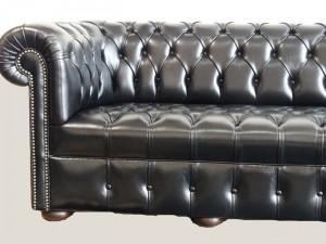Manchette canapé Chesterfield cuir de vachette coloris noir