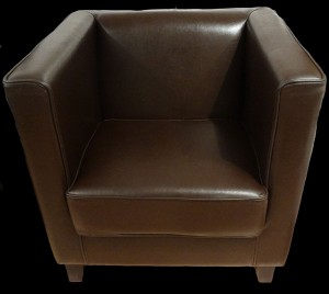 Fauteuil club Cubus en cuir de Bycast  coloris marron