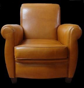 Soldes fauteuil club London en cuir de vachette coloris gold