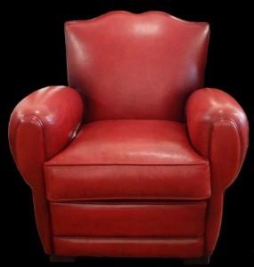 Soldes petit fauteuil club Moustache en cuir de basane pleine fleur coloris rouge