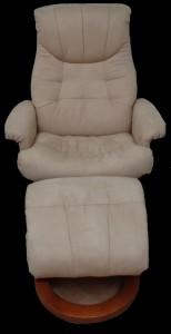 Fauteuil relax + pouf en tissu microfibre coloris beige