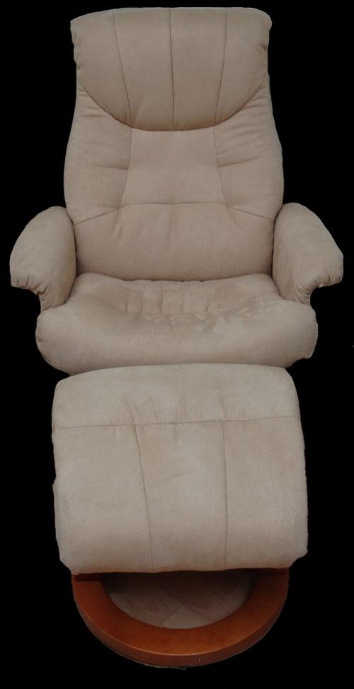 fauteuil relax avec pouf en tissu microfibre coloris beige longfield 1880. Black Bedroom Furniture Sets. Home Design Ideas