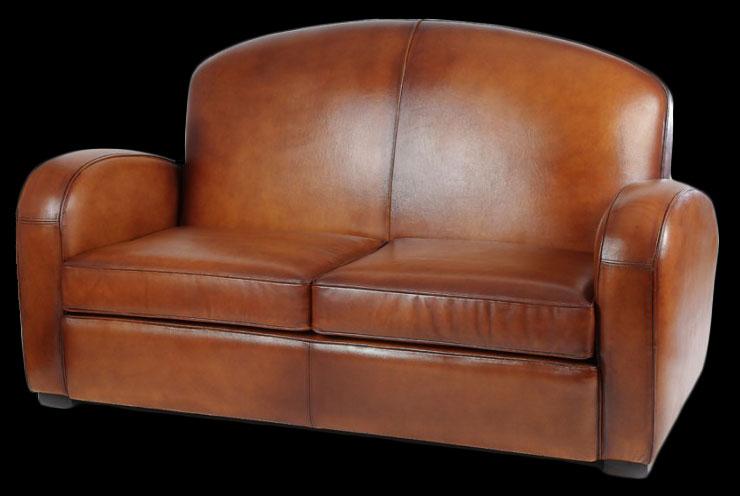 Canapé 2 places club Longfield en cuir de basane pleine fleur coloris miel clair