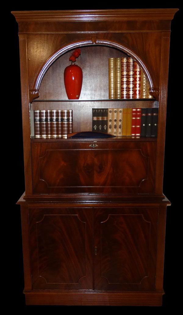 Bibliothèque Anglaise bar en bois d'acajou