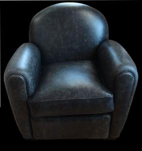 Soldes fauteuil club Francesca en cuir de vachette coloris anthracite