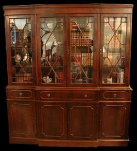 Bibliothèque Anglaise secretaire en bois d'acajou
