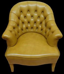 Fauteuil crapeau Anglais en cuir de vachette coloris gold