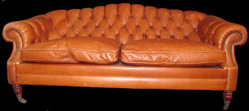 canapé 3 places Anglais Glastonne en cuir de vachette