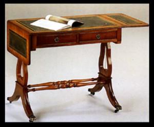 bureau style Anglais Lyre en bois de meriiser