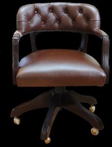 Fauteuil de bureau court Swivel en cuir de vachette coloris marron