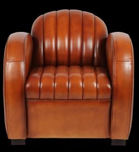 fauteuil club Dallas en cuir de basane pleine fleur coloris miel clair
