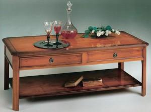 Table basse Anglaise en bois de merisier 2 tiroirs pan coupé
