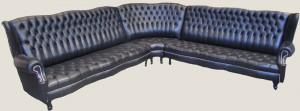 Canapé d'angle Anglais Kent en cuir de vachette coloris noir de