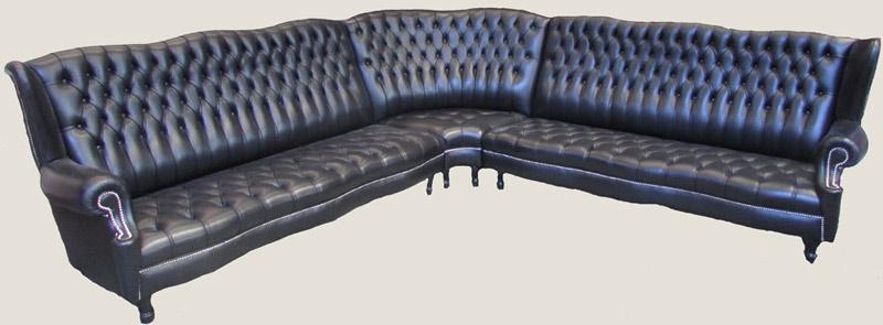 Canapé d'angle Kent en cuir de vachette coloris noir