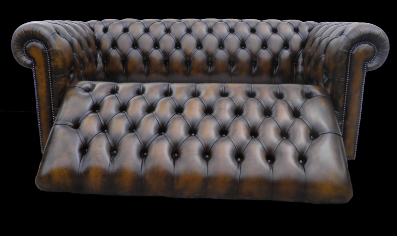 Canap chesterfield lit 3 places marron patin longfield - Canape chesterfield convertible ...