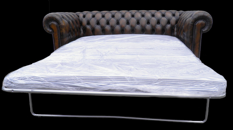 Canap chesterfield lit 3 places marron patin longfield for Canape lit en anglais