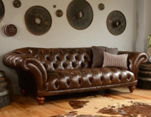 Canapé Chesterfield Ribchester tout capitonné en cuir