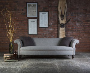 Canapé Chesterfield Bowmore en tissus 100 % laine tweed coloris heather