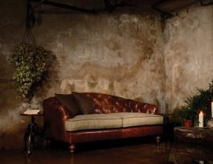 Canapé Anglais Dalmore en cuir et tissus