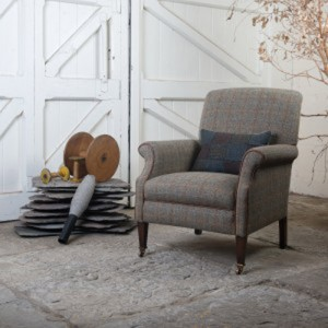 Fauteuil Anglais Bowmore en tissus tweed