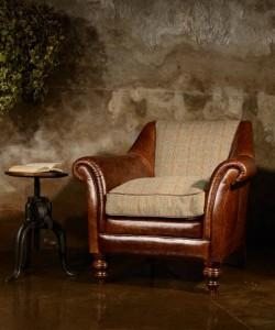 fauteuil Anglais Dalmore en cuir et tissus