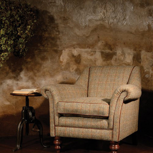 fauteuil anglais dalmore en tissu tweed longfield 1880. Black Bedroom Furniture Sets. Home Design Ideas