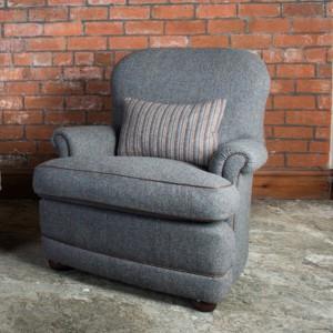 Fauteuil Anglais Livingstone en tissus 100 % laine