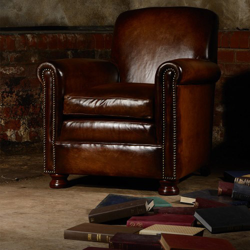 fauteuil anglais prince en cuir de vachette longfield 1880. Black Bedroom Furniture Sets. Home Design Ideas