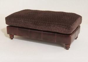 Pouf Anglais Degas en cuir et tissus